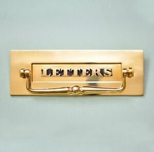 CLASSIC SOLID BRASS PERIOD 'LETTERS' LETTERBOX WITH CLAPPER (*ATC)