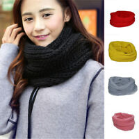 4C00 Men Women Winter Warm Cable Knitted Wool Circle Neck Scarf Snood Scarves Wr