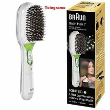 Braun Satin Hair 7 Brush Instant Shine IonTec No Frizz Smooth Hair - White-New