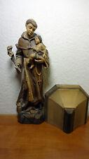 Antique Vintage wooden hand carved Patron Saint Anthony & Jesus figurine statue