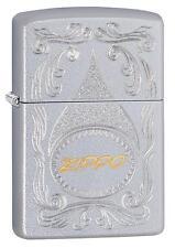 Zippo 29512, Gold Script, Satin Chrome Finish Lighter, Full Size