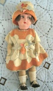 Vintage Painted Cloth Doll ~ Lenci Style Side Glancing ~ French GRE-POIR?
