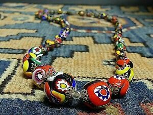 Exquisite Hand Made Italy Multicolor Glass Millefiori Bead Necklace 24 Inch WOW!