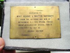 US ARMY 5th Special Forces Brass Plaque Piece Vietnam Vet  items (W1)