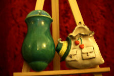 More details for two vintage ceramic vase dry flower holders wall hanging