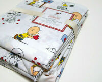 Pottery Barn Kids Peanuts Snoopy Valentines Day Cotton Twin Sheet Set New