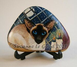 Siamese cat art glittery pebble painting original handpainted by Suzanne Le Good