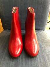 Minimarket Red Leather Wedge Heel Ankle Boots Size 5