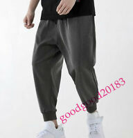 Korea stylish men cotton blend ninth pants loose fit summer harem trouser casual