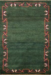 Bordered GREEN Modern Gabbeh Kashkoli Oriental Area Rug Hand-knotted Wool 3'x4'