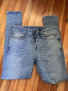 H&M Jeans Mens Size 34 x 32 Skinny Button Fly Stretch Light Wash Denim