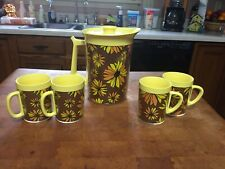 Vintage West Bend Thermo Serv Set With 4 Cups Flowers