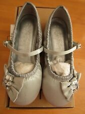 Girls Next Signature Silver Bow Jeweled Bridesmaid Party Shoes - Size 10 - New