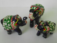 Rare Handmade Enamel Glass Art Wooden Family of Three Indian Elephant Figurines