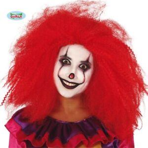 Ladies Halloween Fancy Dress Clown Wig Red Killer Clown hair fg