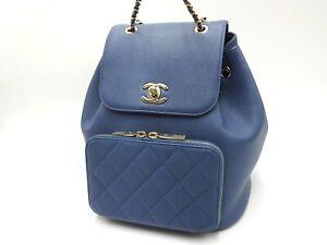 CHANEL CC Matelasse Chain Backpack Bag Caviarskin Leather Blue Gold A93748 V6533