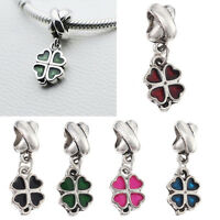 Women Lucky Clover Pendant Beads Fit European Style Bracelet Necklace DD