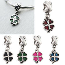 Women Lucky Clover Pendant Beads Fit European Style Bracelet Necklace FT