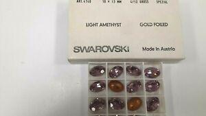 6 swarovski oval triple cut stones,18x13mm light amethyst,goldfoiled #4140