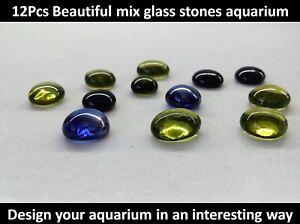 12Pcs Glass Stones Design Fish Tank Aquarium Stones blue / green / black glossy