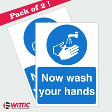2 X NOW WASH YOUR HANDS 150mmx200mm Stickers or Rigid Plastic signs (MAG-04W)
