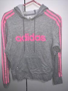 Adidas Grey Pink Hooded Cotton Sweatshirt Size 8-10
