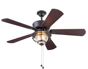 Harbor Breeze Merrimack II 52-in Matte Bronze LED Indoor/Outdoor Ceiling Fan