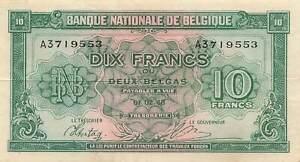 Belgium 10 Francs 1943 P-122 XF
