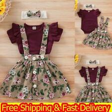 Newborn Baby Girls Floral Tops Romper Dress Skirts Headband 3PCS Outfits Clothes