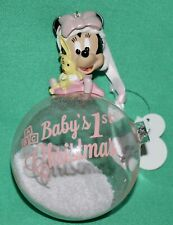 DISNEY PARK MINNIE MOUSE BABY FIRST CHRISTMAS GLASS BALL CHRISTMAS ORNAMENT NEW