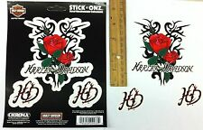*Harley-Davidson* ROSES (set of 3) Indoor / Outdoor Decal STICKERS