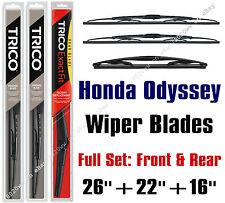 Honda Odyssey 2005-2010 Wiper Blades 3pk Front & Rear Wipers - 30260/30221/16B
