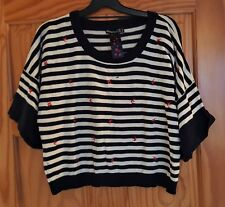 BNWT Primark batwing oversized cropped jumper navy nautical stripes swallows 14