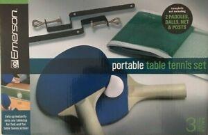 emerson portable tennis table set includeds 3 balls