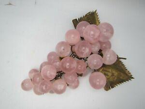 Vintage Grape Cluster Pink Rose Quartz & Brass Mid Century Gem Polished Stone