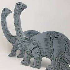 2 Painted Wood Cut Outs Dinosaur Decor Science Child's Room Gray Brontosaurus