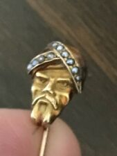 Antique Victorian Solid Gold Man w/ Turban Stick Pin or Cravat Pin  Brooch