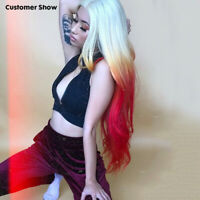 Blonde Ombre Yellow Red Lace Front Wig Synthetic Long Body Wave Wavy Fancy Wigs