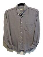 Peter Millar Vintage Black White Plaid Long Sleeve Button Up Shirt Men's Large
