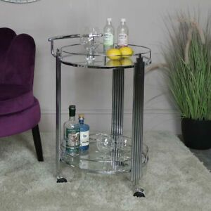 Silver Mirrored Drinks Trolley bar cart party art deco serving vintage