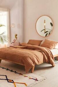 3 piece Terra Cota Dot Tufted Cotton Duvet Cover set, Boho Bedding Doona Cover