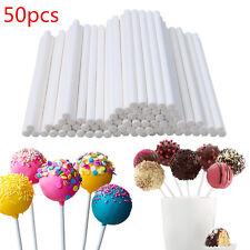 50pcs 15cm White Plastic Sucker Sticks For Lollipop Cake Candy Cookies Baking