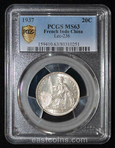 PCGS MS63 1937 French Indo China Silver 20 Cents (SKU 111)