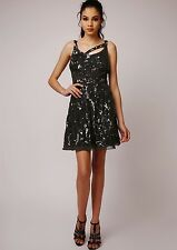 Dress 18 BNWT Virgos Lounge Embellished Black Wedding Christmas Prom Skater £150