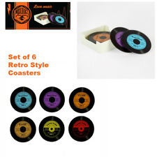 Musicology Glass Coasters Set Vinyl Records Set 6 Gift Box Novelty Fathers Day