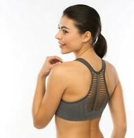 Padded Strappy RacerBack High Impact Seamless Sports Bra ActiveWear WorkOut Gym