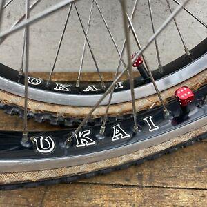 Ukai Wheel Set 20 Old School Bmx Sansin Black High Flange 36 Hole Comp Redline
