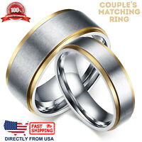 Couple's Matching Ring, His or Hers Stainless Steel 2-Tone Matte Wedding Band