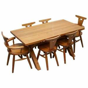 RARE ROBIN NANCE OF ST IVES SOLID PINE X FRAMED DINING TABLE & 6 CHAIRS CARVERS