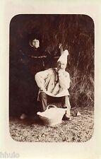 BJ771 Carte Photo vintage card RPPC Homme couple funny déguisement panier bonnet